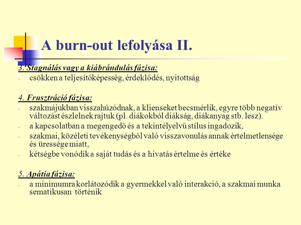 A burn-out lefolyása II.