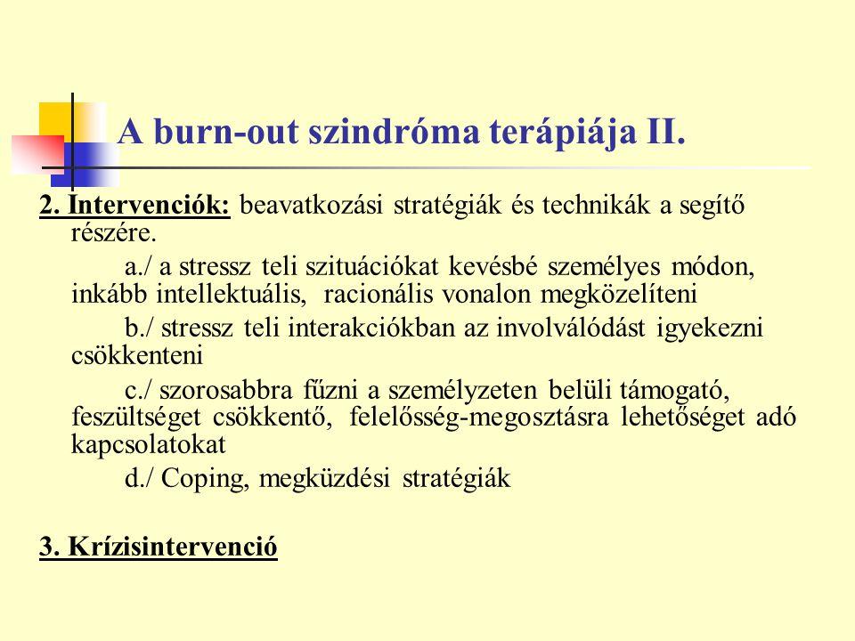 A burn-out szindróma terápiája II.