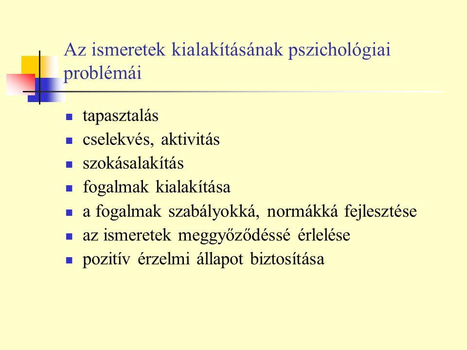 Az ismeretek kialakításának pszichológiai problémái