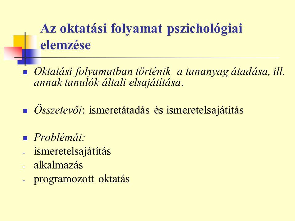 Az oktatási folyamat pszichológiai elemzése