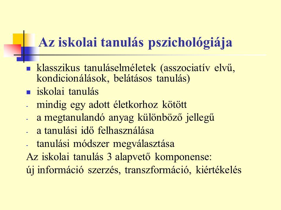 Az iskolai tanulás pszichológiája