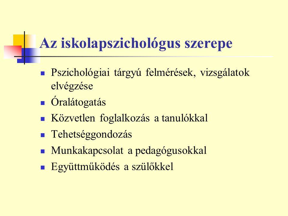 Az iskolapszichológus szerepe