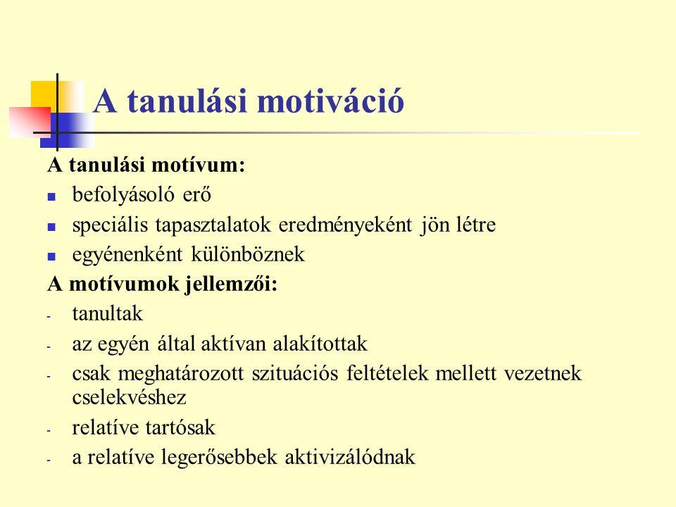A tanulási motiváció A tanulási motívum: befolyásoló erő