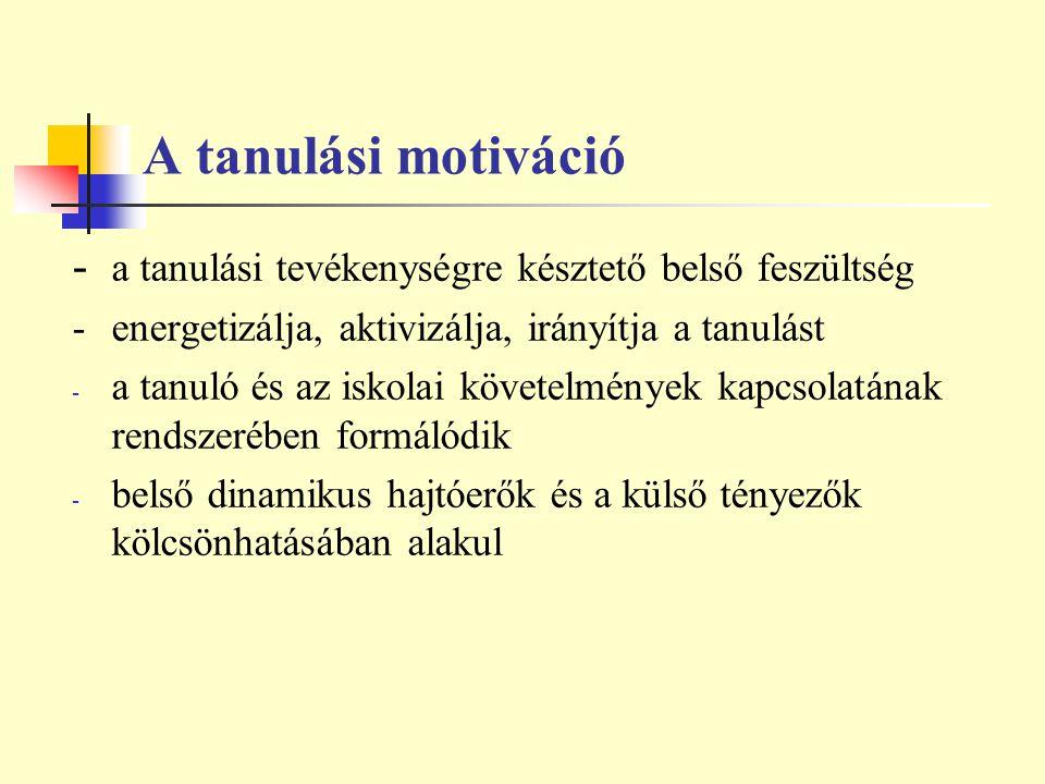 A tanulási motiváció - a tanulási tevékenységre késztető belső feszültség. - energetizálja, aktivizálja, irányítja a tanulást.