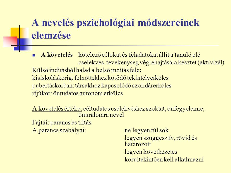 A nevelés pszichológiai módszereinek elemzése