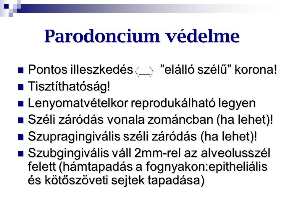 Parodoncium védelme Pontos illeszkedés elálló szélű korona!