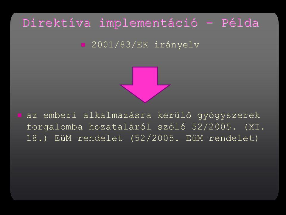 Direktíva implementáció - Példa