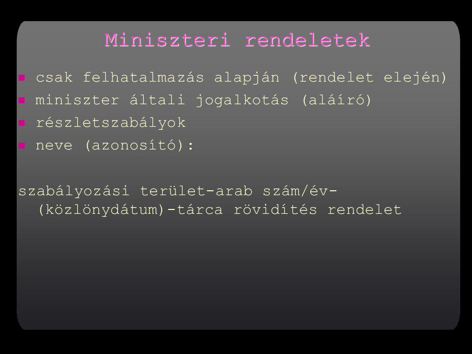 Miniszteri rendeletek