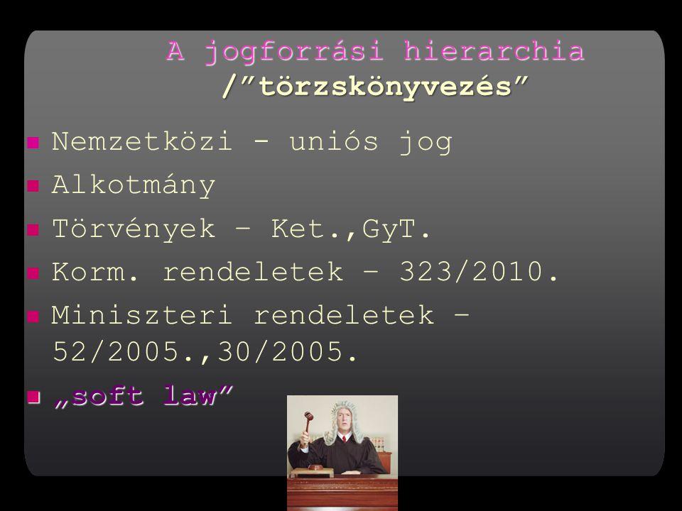 A jogforrási hierarchia / törzskönyvezés