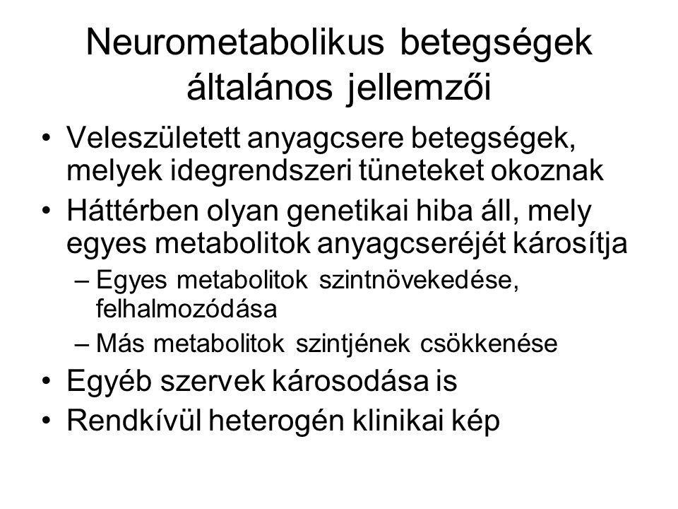 Neurometabolikus betegségek általános jellemzői