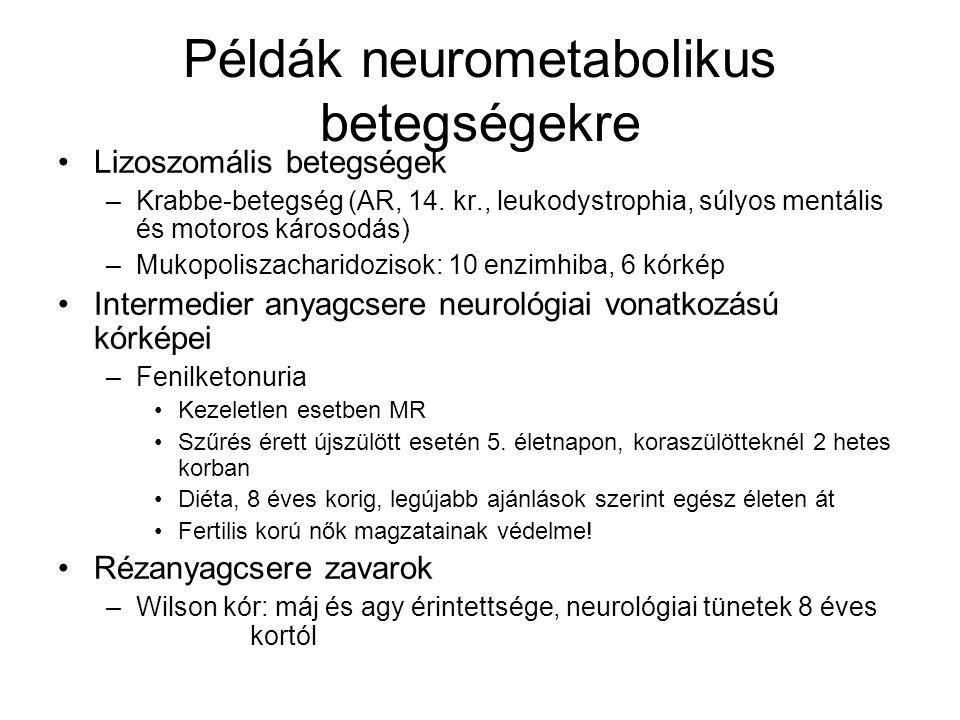 Példák neurometabolikus betegségekre