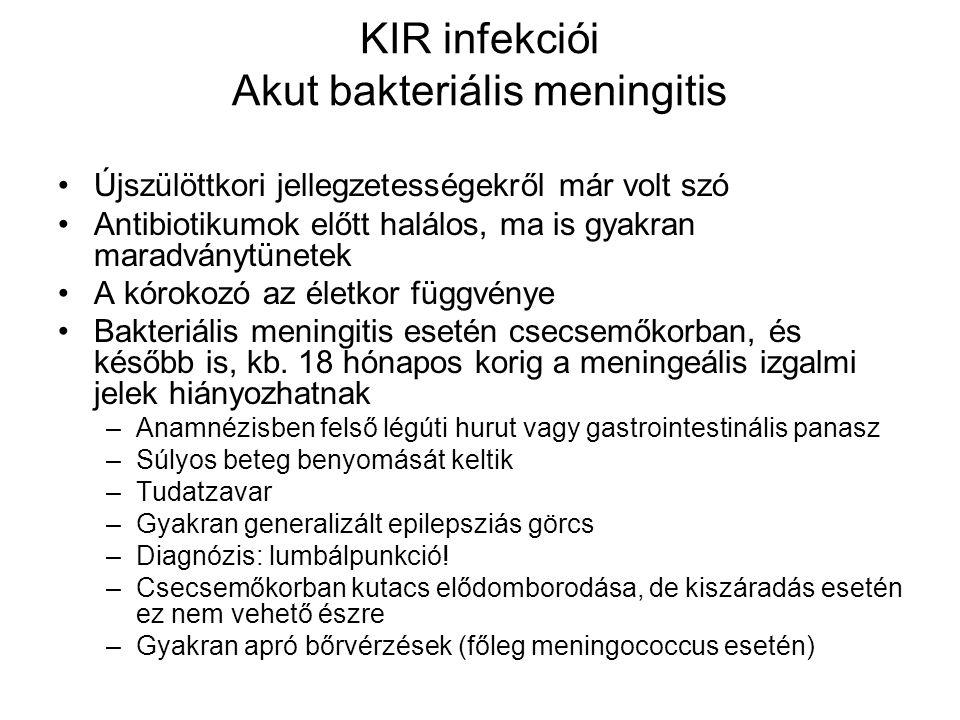 KIR infekciói Akut bakteriális meningitis