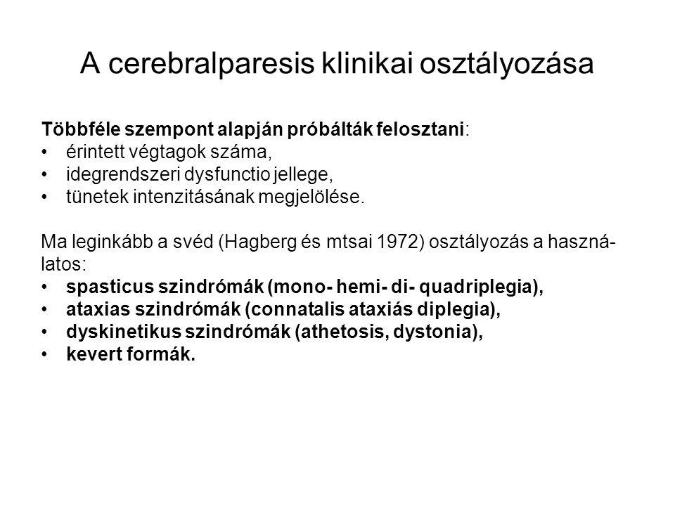 A cerebralparesis klinikai osztályozása