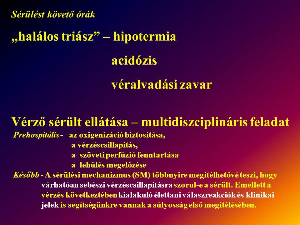 """""""halálos triász – hipotermia acidózis véralvadási zavar"""