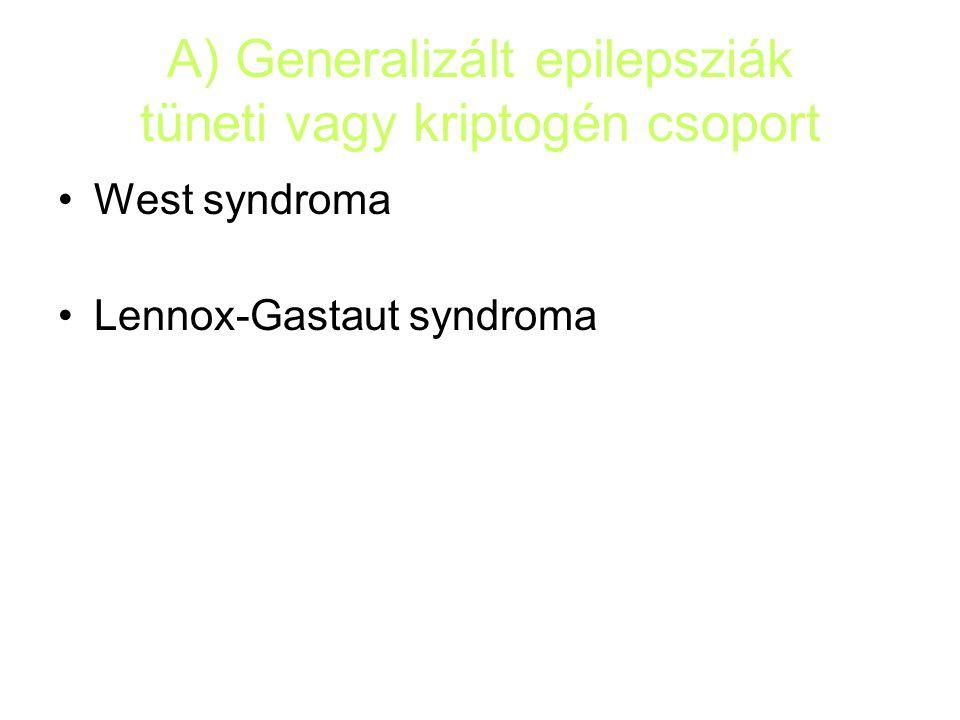 A) Generalizált epilepsziák tüneti vagy kriptogén csoport