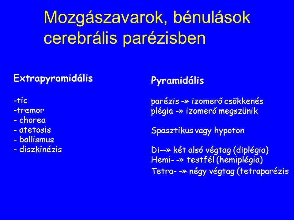 Mozgászavarok, bénulások cerebrális parézisben