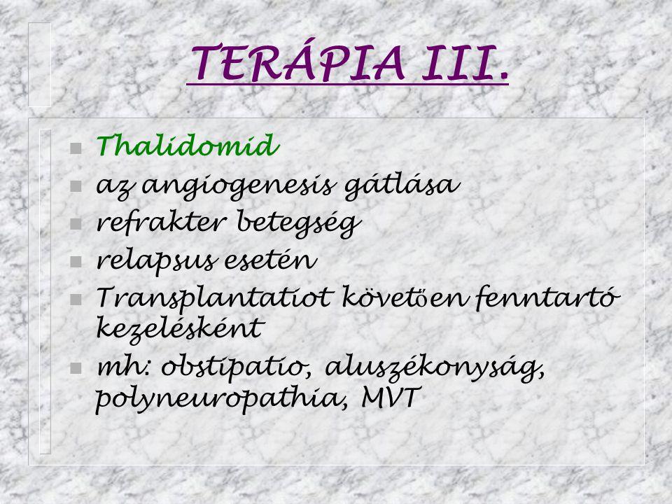 TERÁPIA III. Thalidomid az angiogenesis gátlása refrakter betegség