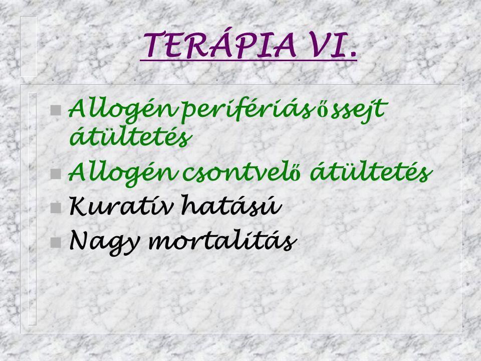 TERÁPIA VI. Allogén perifériás őssejt átültetés