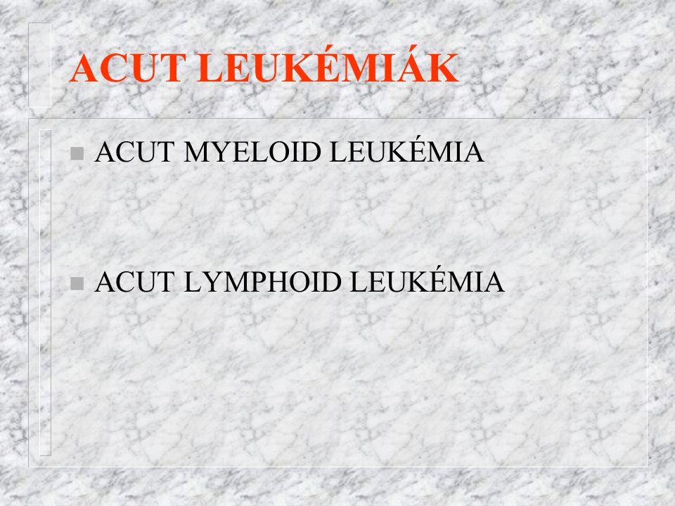 ACUT LEUKÉMIÁK ACUT MYELOID LEUKÉMIA ACUT LYMPHOID LEUKÉMIA