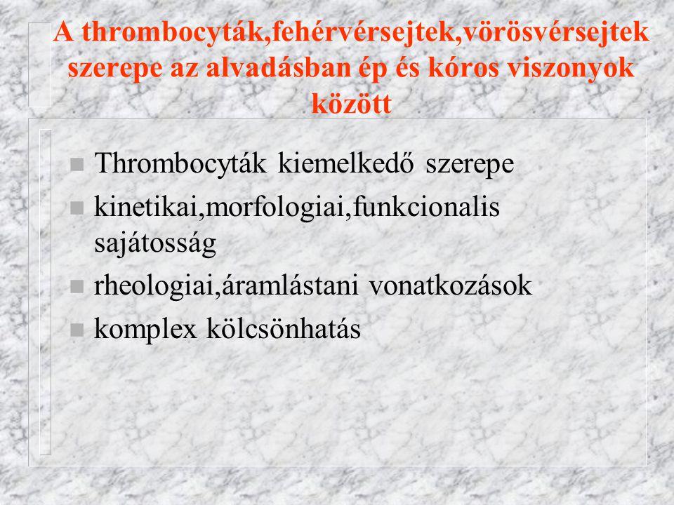 A thrombocyták,fehérvérsejtek,vörösvérsejtek szerepe az alvadásban ép és kóros viszonyok között