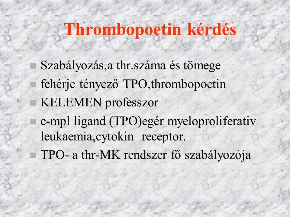 Thrombopoetin kérdés Szabályozás,a thr.száma és tömege