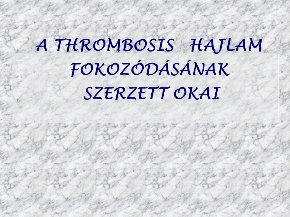 A THROMBOSIS HAJLAM FOKOZÓDÁSÁNAK SZERZETT OKAI