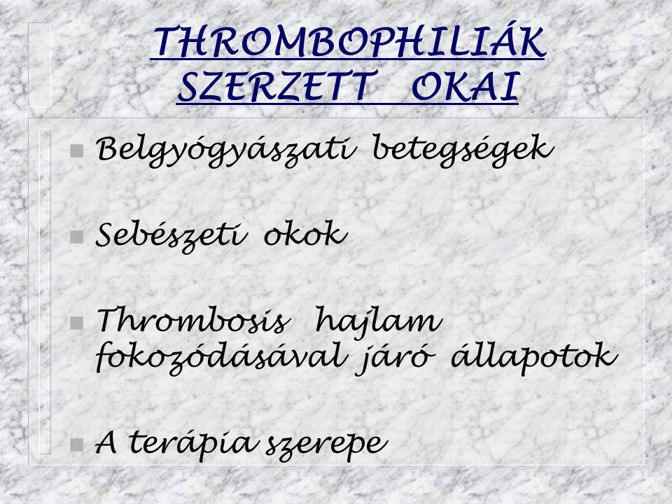 THROMBOPHILIÁK SZERZETT OKAI