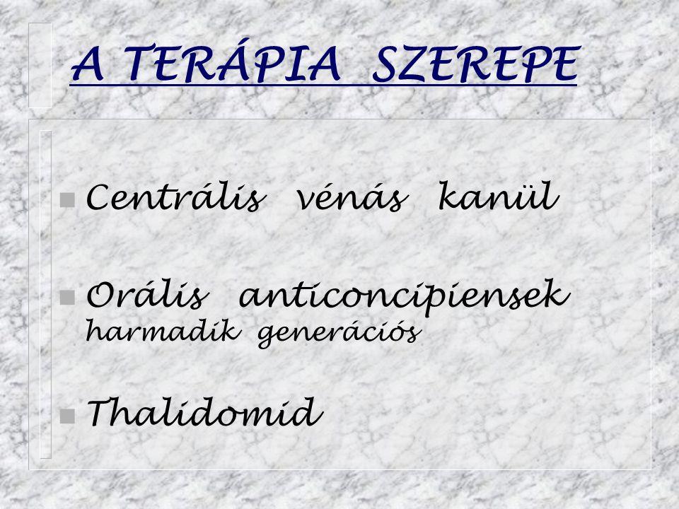 A TERÁPIA SZEREPE Centrális vénás kanül