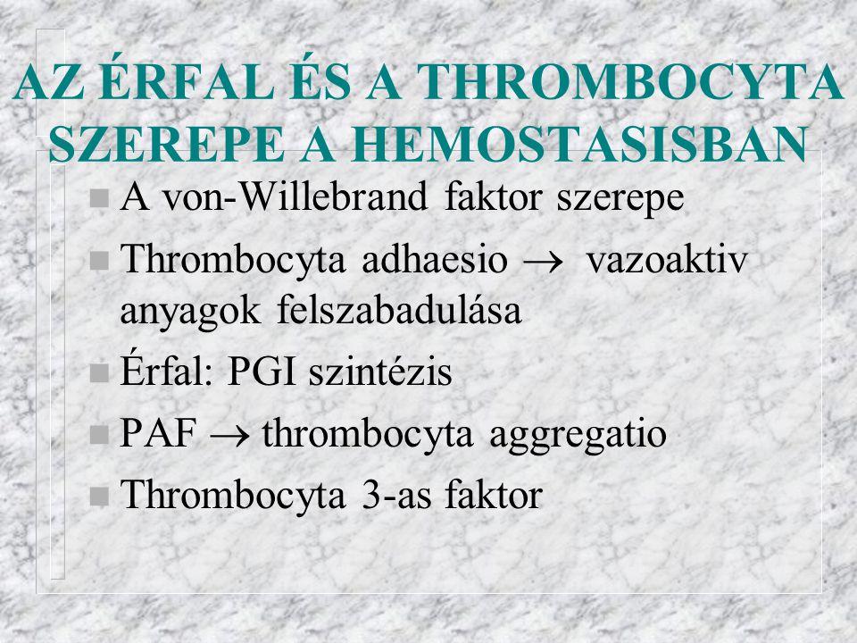 AZ ÉRFAL ÉS A THROMBOCYTA SZEREPE A HEMOSTASISBAN
