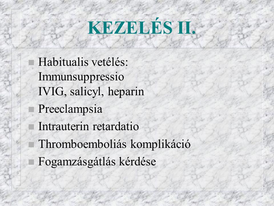 KEZELÉS II. Habitualis vetélés: Immunsuppressio IVIG, salicyl, heparin