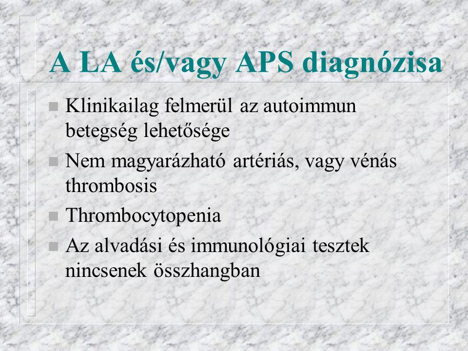 A LA és/vagy APS diagnózisa