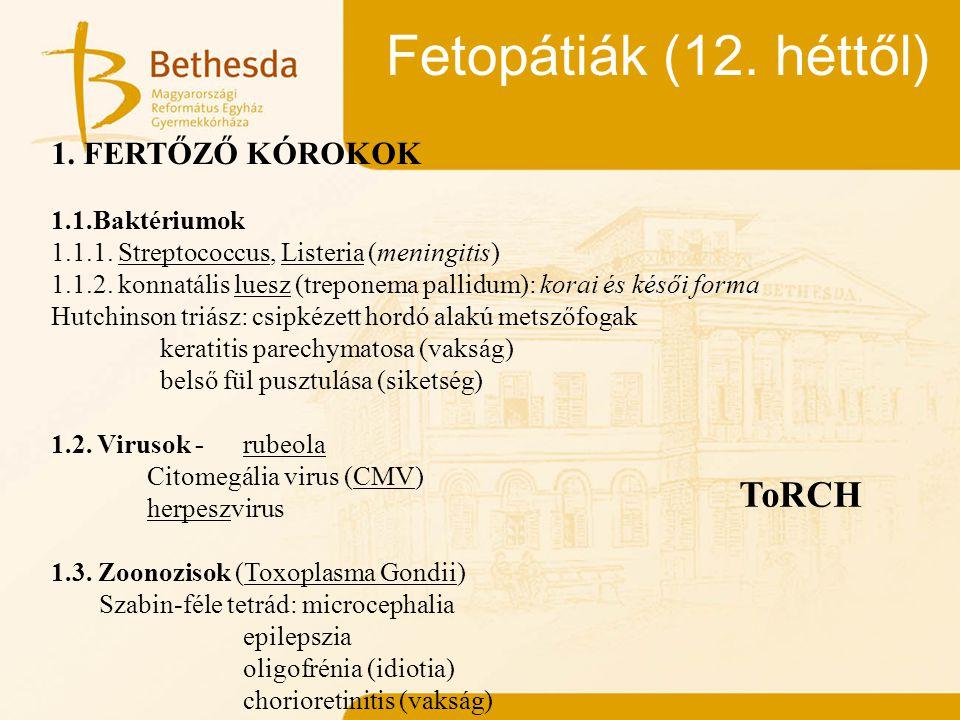 Fetopátiák (12. héttől) ToRCH 1. FERTŐZŐ KÓROKOK 1.1.Baktériumok