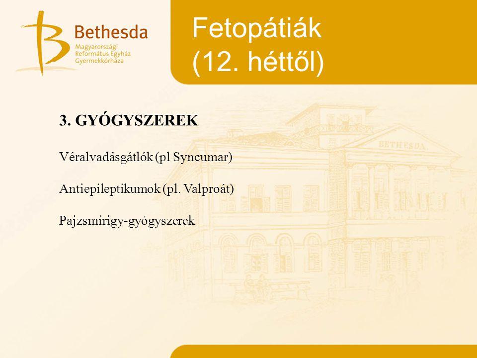 Fetopátiák (12. héttől) 3. GYÓGYSZEREK Véralvadásgátlók (pl Syncumar)