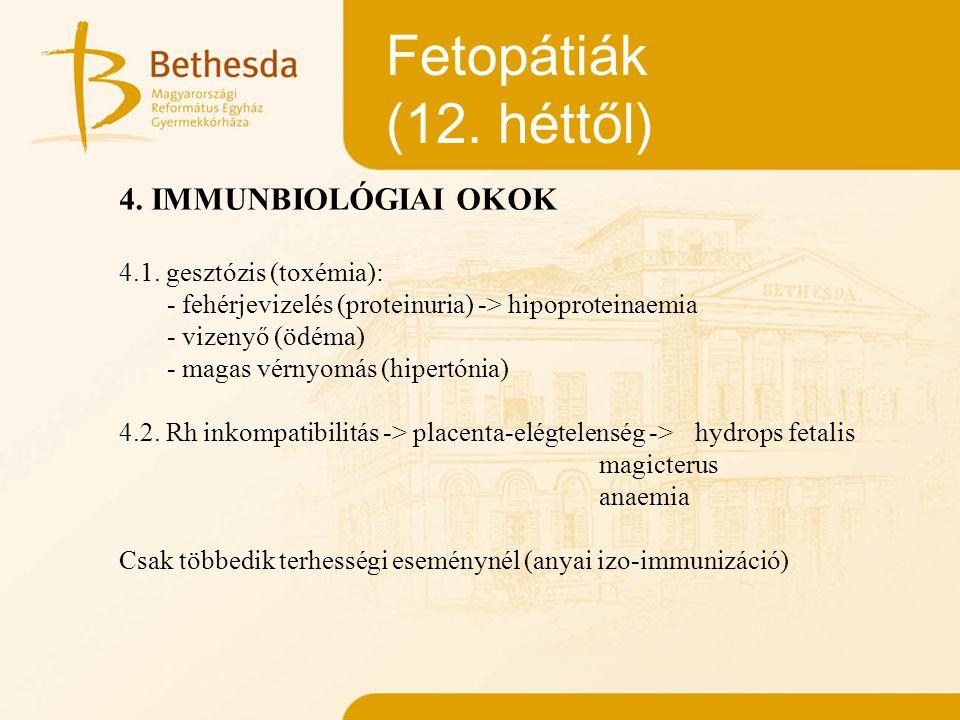 Fetopátiák (12. héttől) 4. IMMUNBIOLÓGIAI OKOK