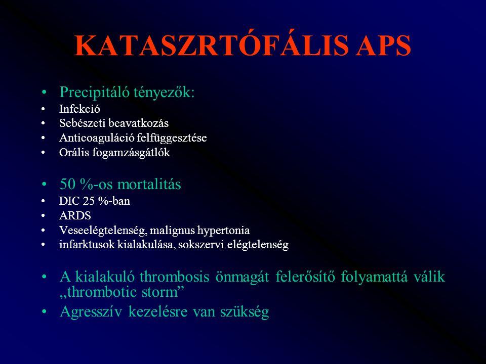 KATASZRTÓFÁLIS APS Precipitáló tényezők: 50 %-os mortalitás