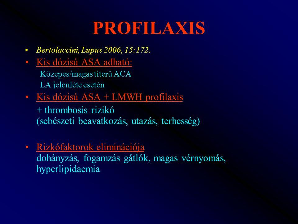 PROFILAXIS Kis dózisú ASA adható: Kis dózisú ASA + LMWH profilaxis