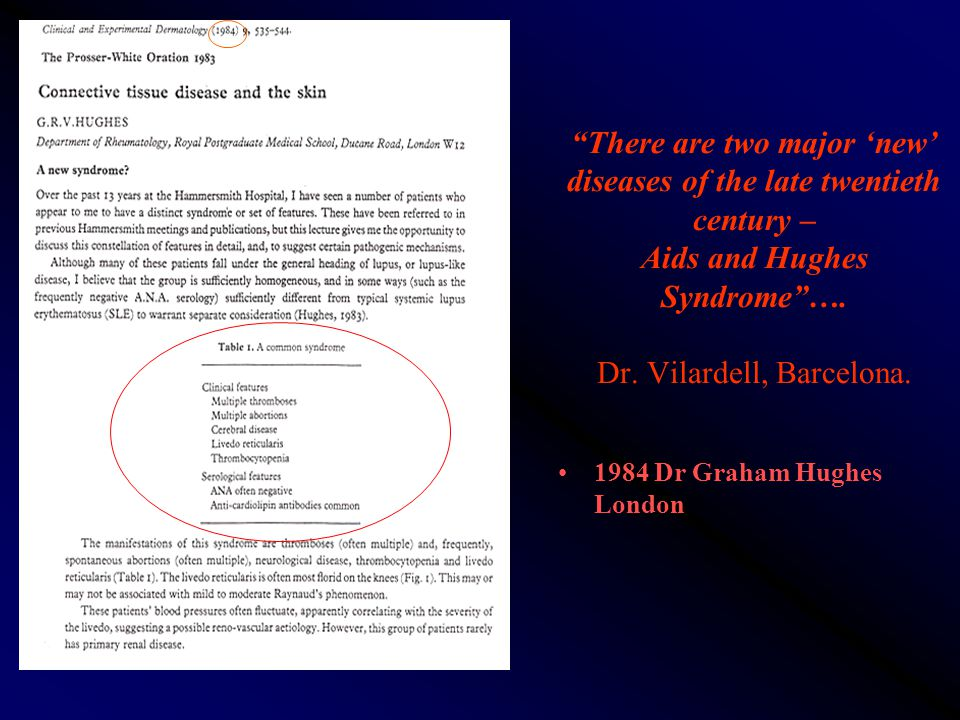 There are two major 'new' diseases of the late twentieth century – Aids and Hughes Syndrome …. Dr. Vilardell, Barcelona.