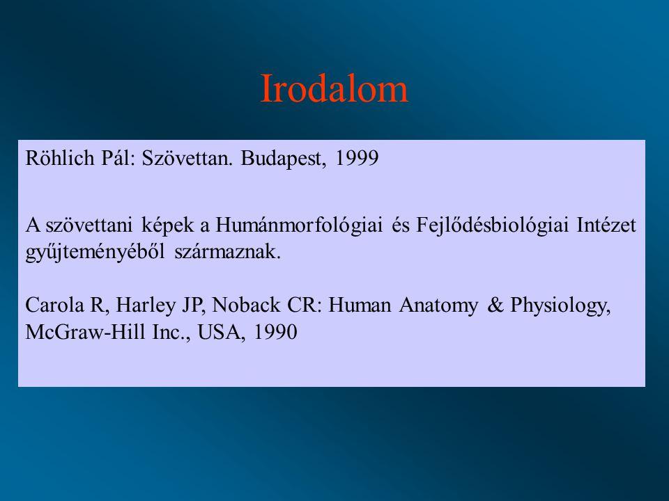 Irodalom Röhlich Pál: Szövettan. Budapest, 1999
