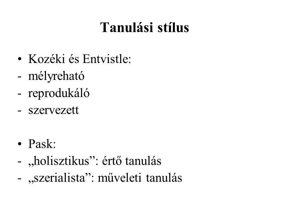 Tanulási stílus Kozéki és Entvistle: - mélyreható reprodukáló