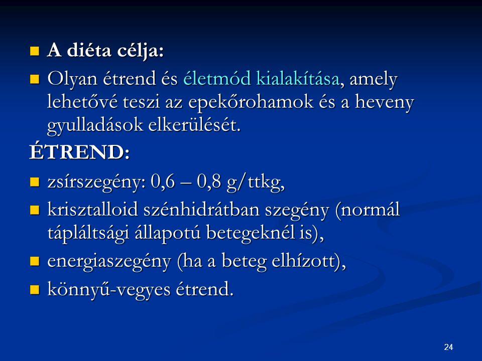 A diéta célja: Olyan étrend és életmód kialakítása, amely lehetővé teszi az epekőrohamok és a heveny gyulladások elkerülését.