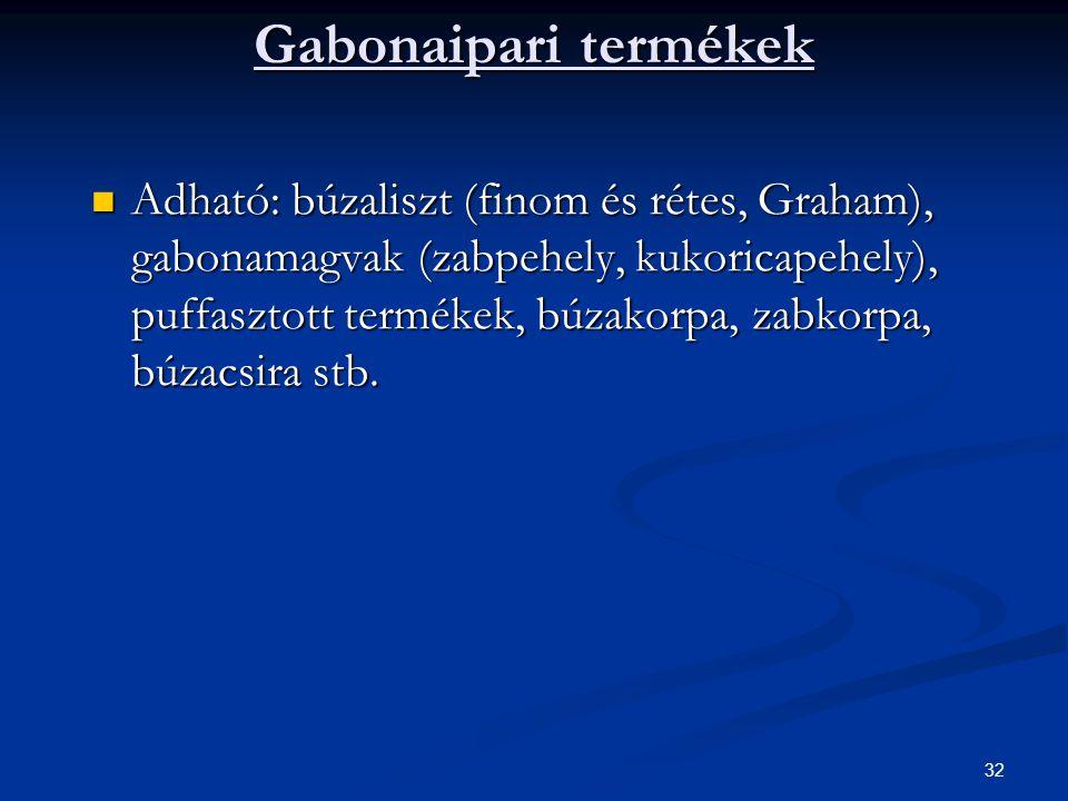 Gabonaipari termékek