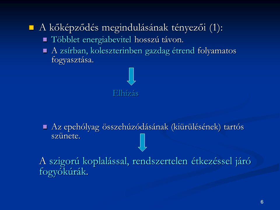 A kőképződés megindulásának tényezői (1):