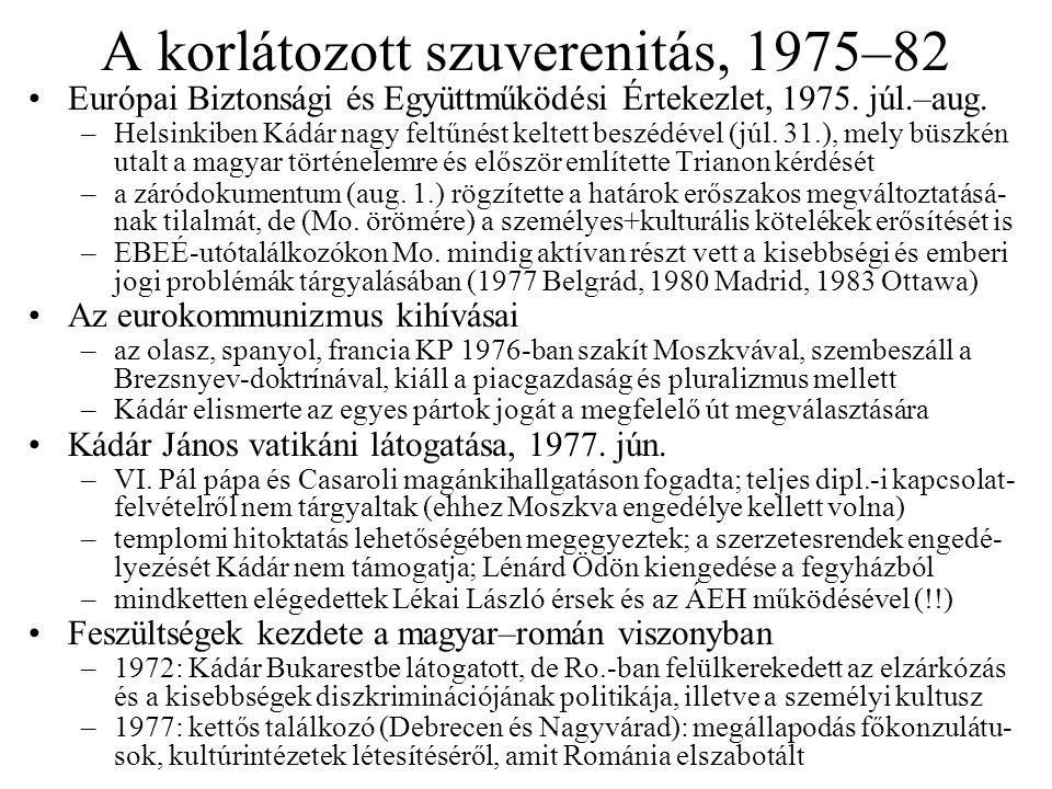 A korlátozott szuverenitás, 1975–82