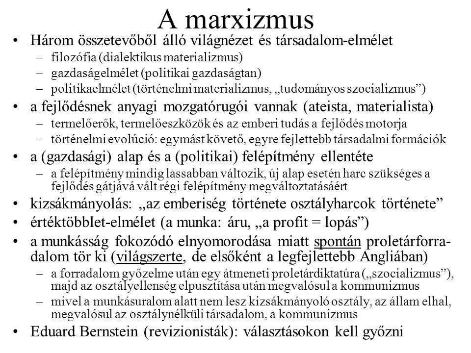 A marxizmus Három összetevőből álló világnézet és társadalom-elmélet