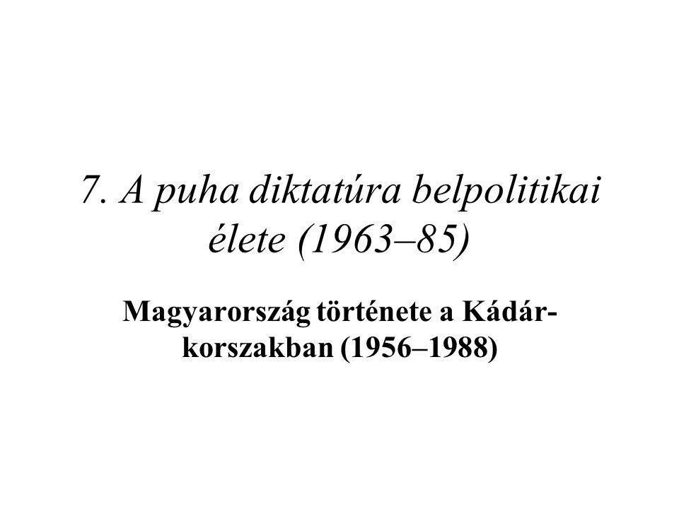 7. A puha diktatúra belpolitikai élete (1963–85)