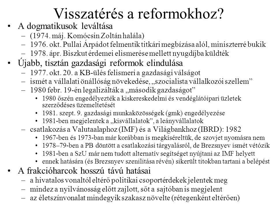 Visszatérés a reformokhoz