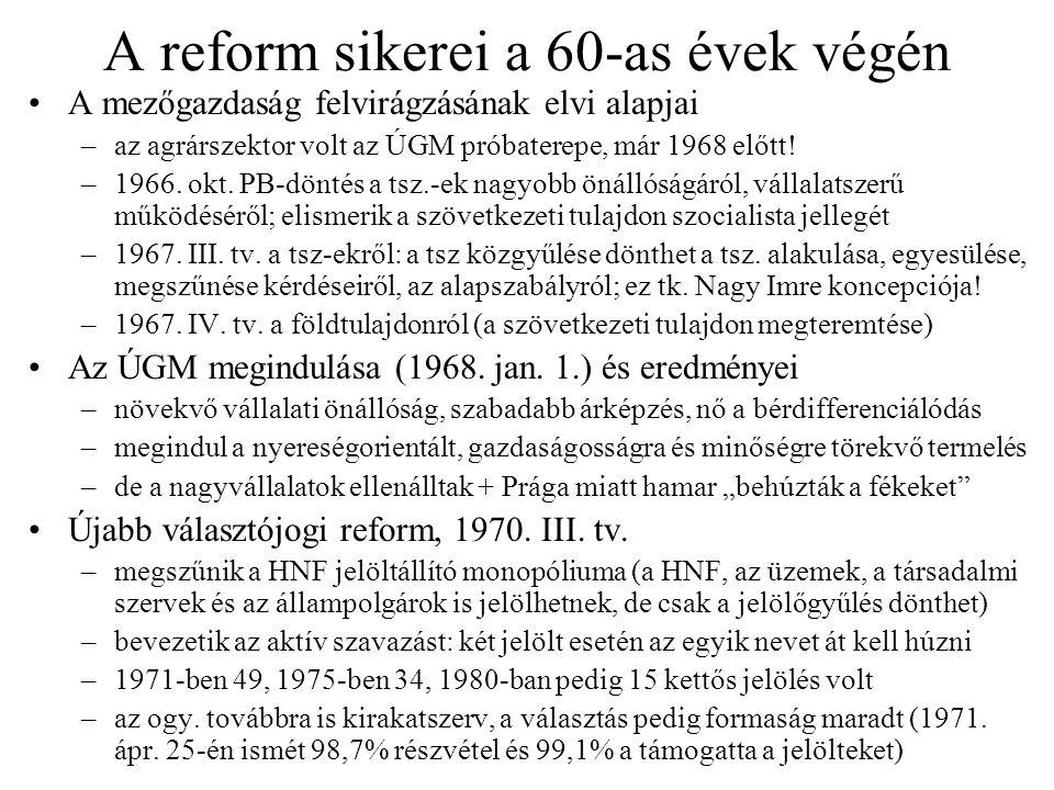 A reform sikerei a 60-as évek végén