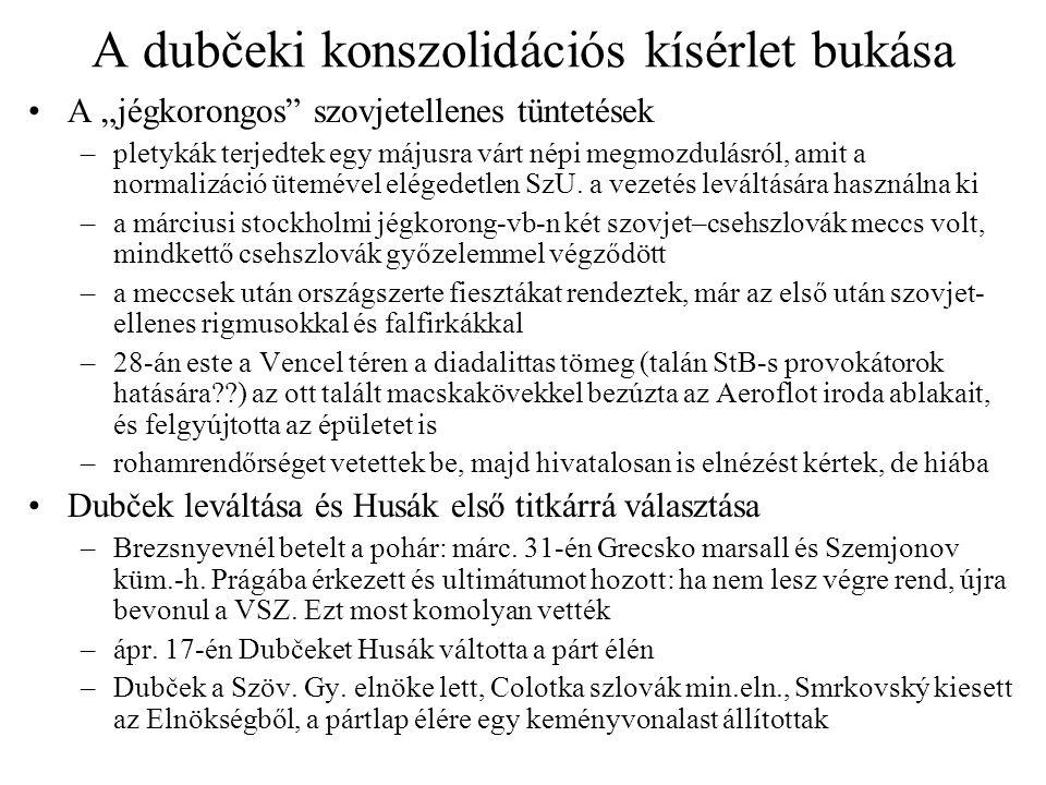 A dubčeki konszolidációs kísérlet bukása