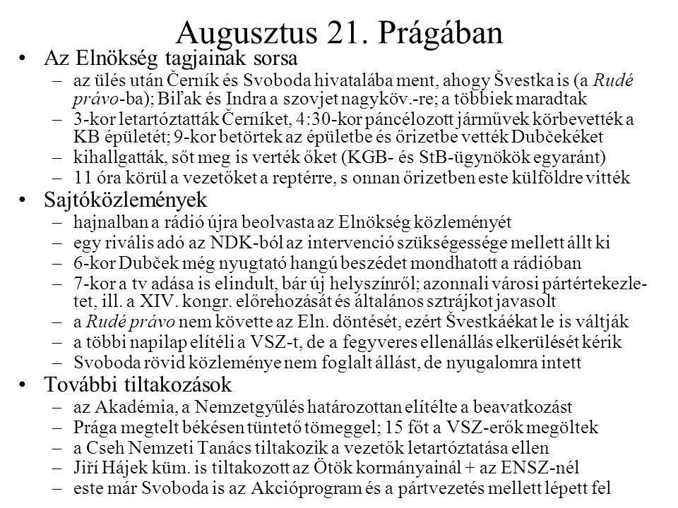 Augusztus 21. Prágában Az Elnökség tagjainak sorsa Sajtóközlemények