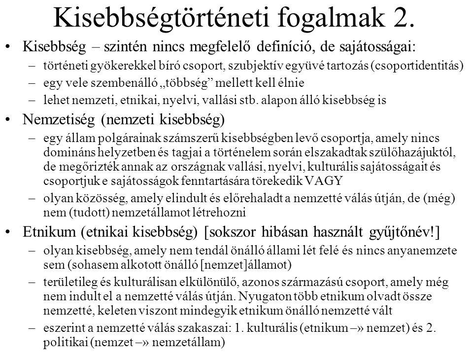 Kisebbségtörténeti fogalmak 2.